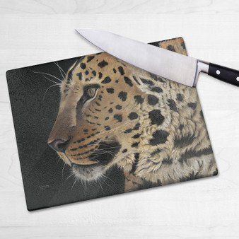 Glass chopping board- Prince of Amur. Artwork by Kay Johns