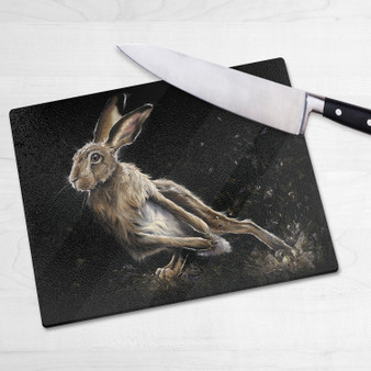 Glass chopping board-The Artful Dodger. Artwork by Kay Johns