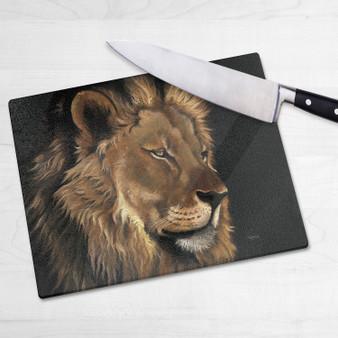 Glass chopping board-Aslan. Artwork by Kay Johns