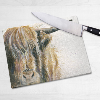 Glass chopping board-House Guest. Artwork by Kay Johns