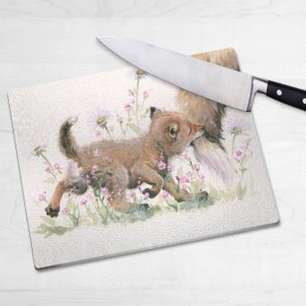 Glass chopping board-Naughty But Nice. Artwork by Kay Johns