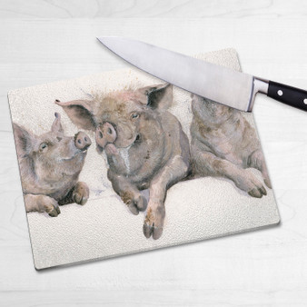 Glass chopping board-parkie Pies. Artwork by Kay Johns