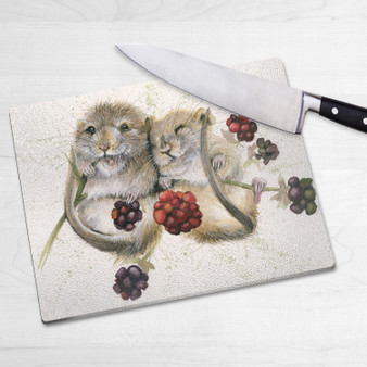 Glass chopping board-Chuckle Berries. Artwork by Kay Johns