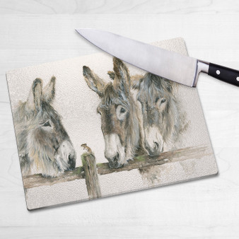Glass chopping board-Why the Long Face? Artwork by Kay Johns