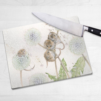 Glass chopping board-The Dandy Line. Artwork by Kay Johns