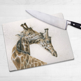 Glass chopping board-Tying the knot. Artwork by Kay Johns