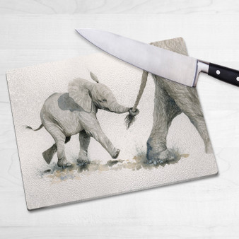 Glass chopping board-Pull the Other One. Artwork by Kay Johns