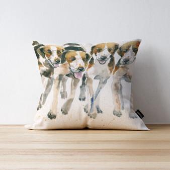 The Pack Fox Hound cushion. Artwork by Kay Johns