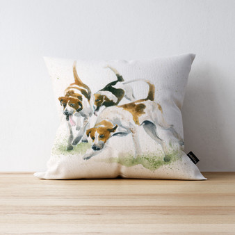 The Scent Fox Hound cushion. Artwork by Kay Johns
