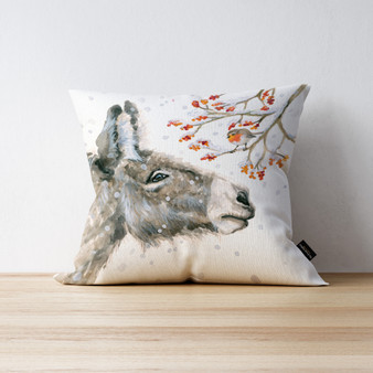 Very Merry Berries Donkey cushion. Artwork by Kay Johns