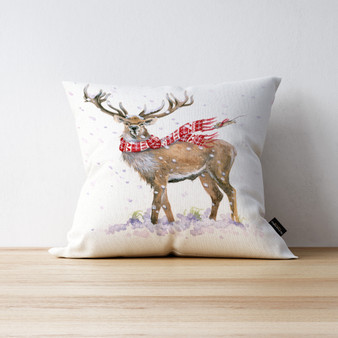 North Wind Stag and friend cushion. Artwork by Kay Johns