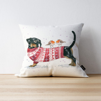 Bark the Herald Sausage Dog cushion. Artwork by Kay Johns