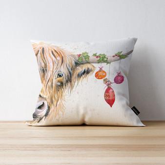 Deck the Horns Highland Cow cushion. Artwork by Kay Johns