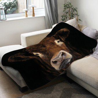 Fleece blanket- Big Brother. Limousin Bull.artwork by Kay Johns