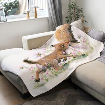 Fleece blanket - Naughty But Nice. Fox cub. Artwork by Kay Johns