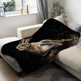 Fleece blanket - The Artful Dodger. Running Hare. Artwork by Kay Johns