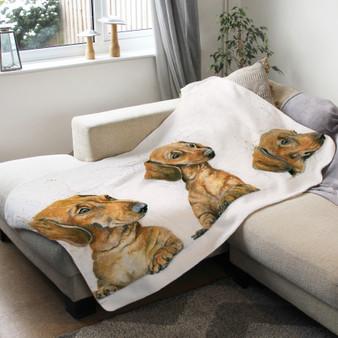 Fleece blanket - Sausages. Sausage Dogs. Artwork by Kay Johns