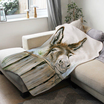 Fleece blanket - The Meeting Place, Donkey. Artwork by Kay Johns