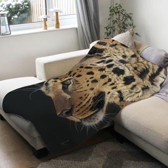 Fleece blanket - Prince of Amur, Amur Leopard. Artwork by Kay Johns