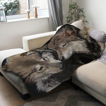 Fleece blanket - Side by Side, wolves. Artwork by Kay Johns.