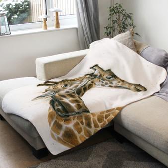 Fleece blanket - Tying the Knot, Giraffes. Artwork by Kay Johns