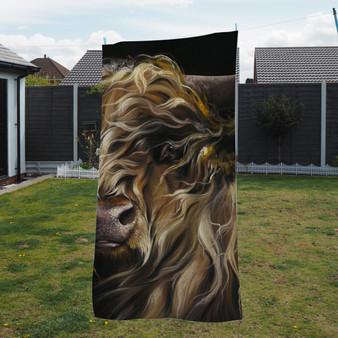 Towel - Macbeth 2. Highland Cow. Artwork by Kay Johns