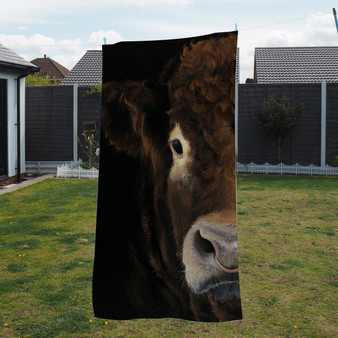 Towel - Big Brother 1. A Limousine Bull. Artwork by Kay Johns