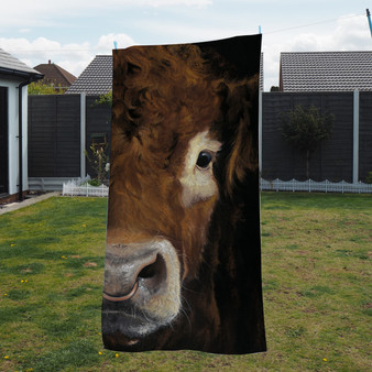 Towel - Big Brother 2. Limousin Bull.Artwork by Kay Johns