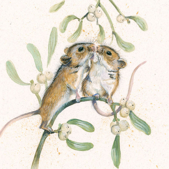 Two Little mice kissing under the mistletoe by Kay Johns