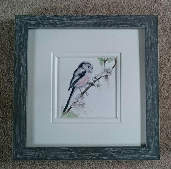 Long-tailed Tit, bird  original, framed in a rustic grey with a double off white mount.