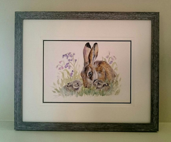 Original mother hare and her two leverets artwork by Kay Johns