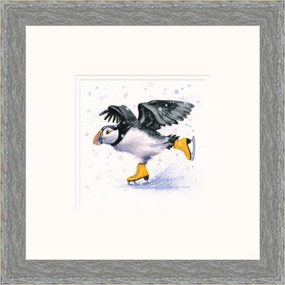 Hand-embellished Puffin artwork by Kay Johns - grey frame