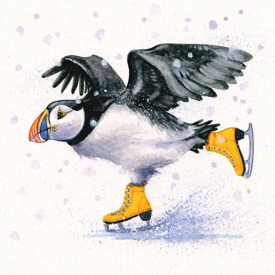 Puffin original artwork by Kay Johns
