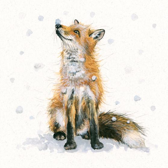 'Let it Snow' original, fox artwork by Kay Johns