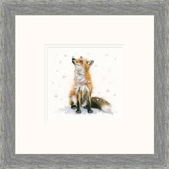 Hand-embellished fox artwork by Kay Johns - grey frame