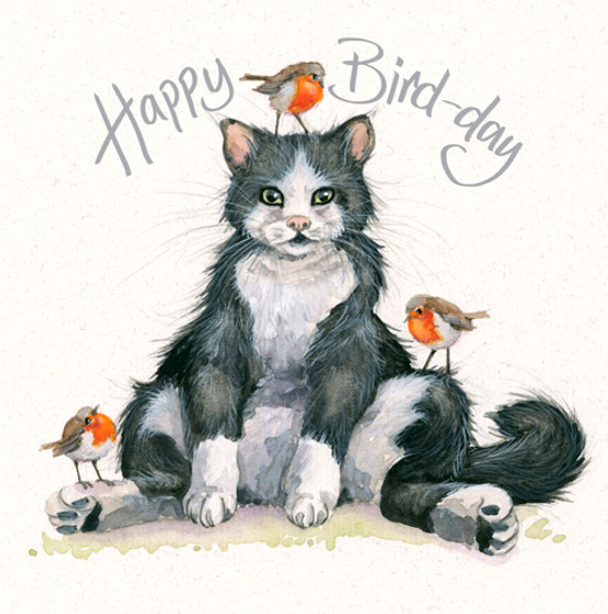 Happy Bird-Day - Cat & robin card by Kay Johns - front view