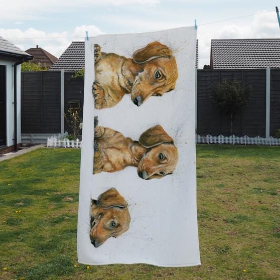 Towel - Sausages. Sausage dogs. Artwork bu Kay Johns