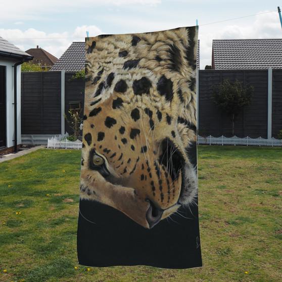 Towel - prince of Amur. An Amur Leopard. Artwork by Kay Johns