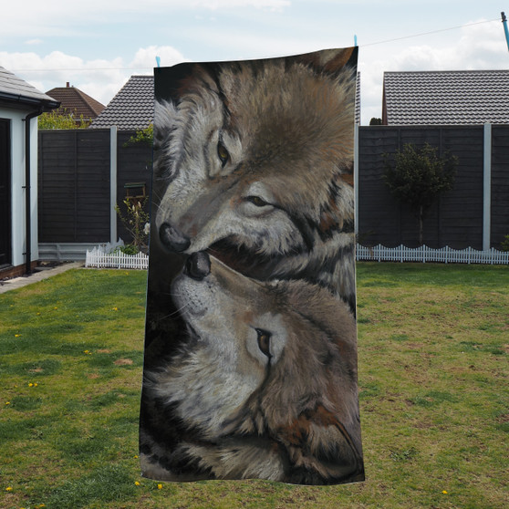 Towel - Side by Side. Wolves. Artwork by Kay Johns