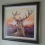 Canvas version framed Stag painting by Kay Johns