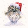 Hand-embellished owl artwork by Kay Johns