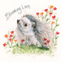 Hedgehog greeting card artwork by Kay Johns - front view