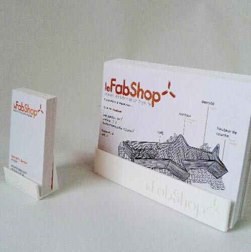 le FabShop business card and flyer holder
