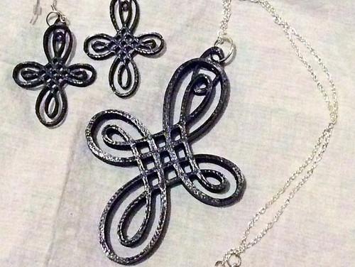 Celtic knot cross earrings & pendant