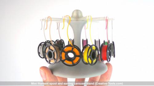 Mini filament spool and earring carousel stand