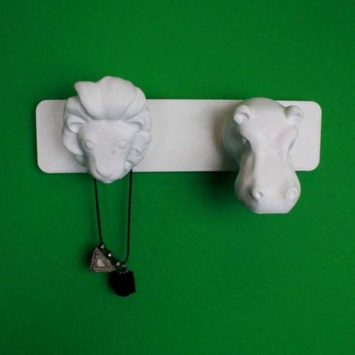 Lion and Hippo - Animal Coat Hanger