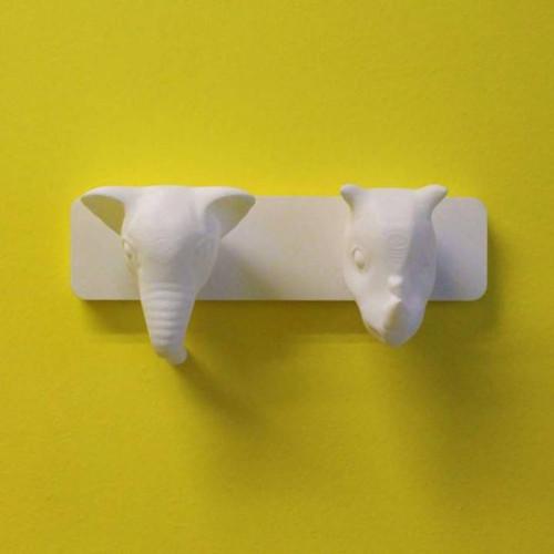Elephant and Rhino - Animal Coat Hanger