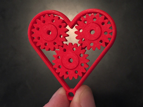 Geared Heart -Single Print with Moving Parts - Last Minute Gift