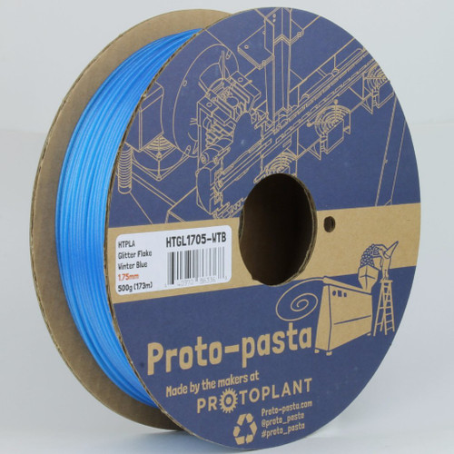 Proto-Pasta Glitter Flake HTPLA - Winter Blue 3D Printing Filament 1.75mm (500 g)