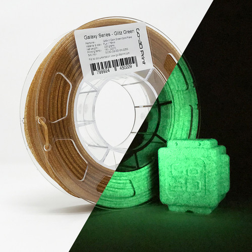 Glitz Green Gold Flake Glow in the Dark 3D Printing PLA Filament 225g